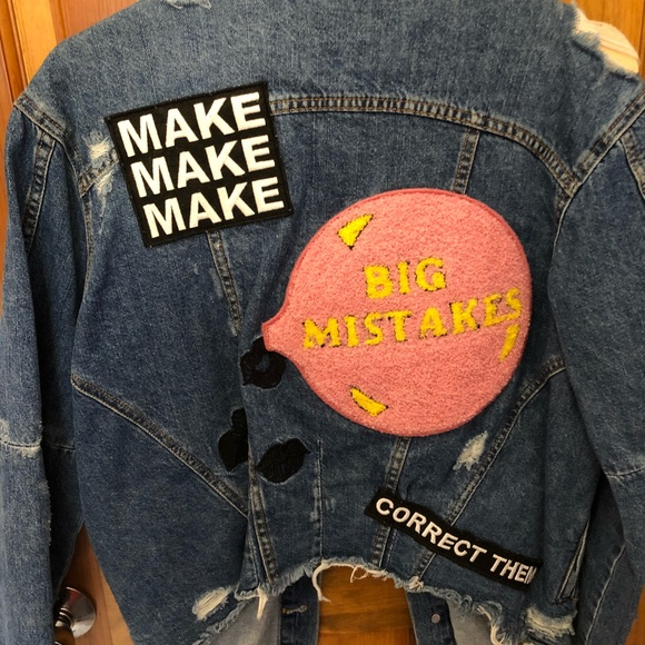 0c10d81c Zara Jackets & Coats | Make Big Mistakes Denim Patch Jacket Size S ...